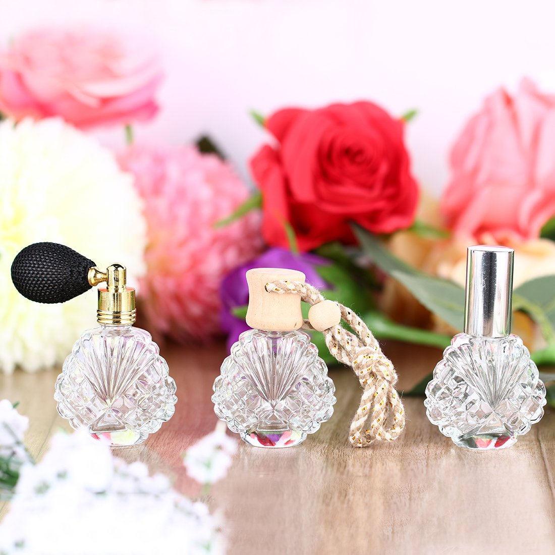H&D Vintage Peacock Shape Glass Empty Perfume Bottles Spray Wedding Gifts Decor Set 3 3