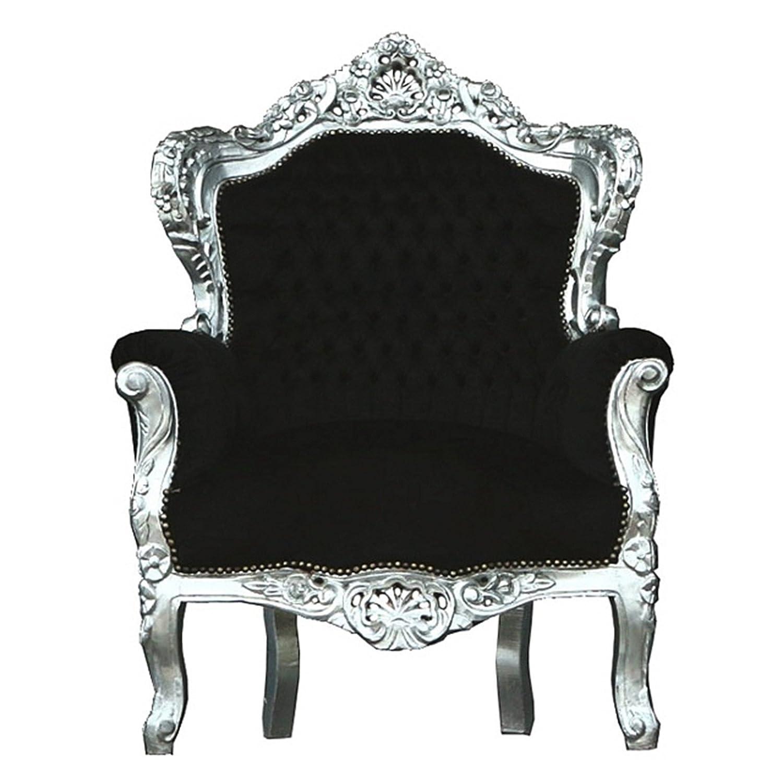 Antiker Sessel Thron schwarz silber Barock Pomp Prunk