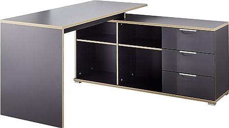 Bureau en bois coloris anthracite avec 4 compartiments ouverts et 3 tiroirs, L 145 x P 145 x H 75 cm -PEGANE-