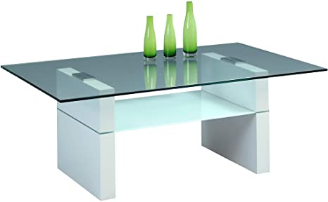 HomeTrends4You 191426 Couchtisch, 110 x 42 x 70 cm, weiß matt glas