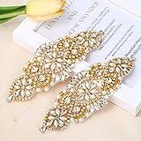 Rhinestone Applique for DIY Wedding Dress, Bridal- Accessories (2 Piece Gold) (Color: 2 Piece Gold)