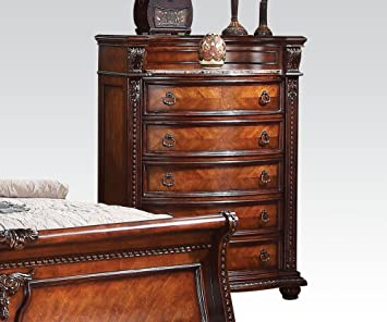 Nathaneal Traditional Five Drawer Chest with Decorative Carving in Tobacco by Acme Furniture