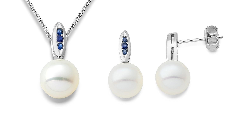 Miore Damen-Schmuckset Halskette und Ohrringe 9 Karat 375 Weißgold Süßwasser-Zuchtperlen und Saphir Blau MSET018 günstig kaufen