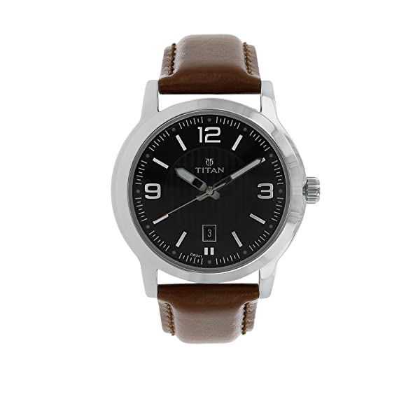 Titan Men's 'Neo' Quartz Metal and Leather Casual Watch, Color:Brown (Model: 1730SL02)