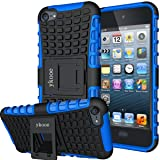 ykooe iPod Touch 5 Case,Touch 6 Case, Heavy Duty Protective Cover Dual Layer Hybrid Shockproof Protective Case with Stand for Apple iPod Touch 5 6 (Blue) (Color: Blue)