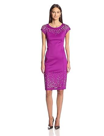 Catherine Malandrino Women's Harmony Lasercut Sheath Dress, Plum, 4