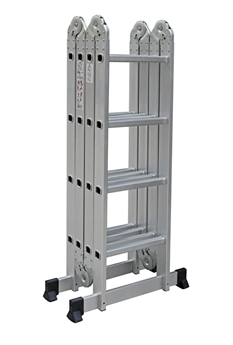 Escalera multiuso con 2 plataformas de acero - Escalera plegable altillo ...