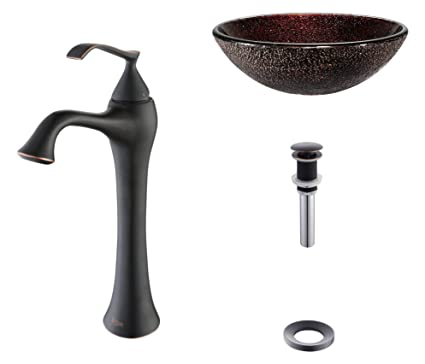 Kraus C-GV-570-12mm-15000ORB Callisto Glass Vessel Sink and Ventus Faucet Oil Rubbed Bronze