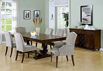 "(Set of 2) Dining Room Chairs 38"" Beige,Brown Fabric I 1703"