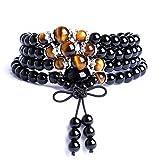 TISDA Mala Beads Multilayer Stretch Bracelet, Black Obsidian Tiger Eye Buddhist Prayer Beads 6MM 108