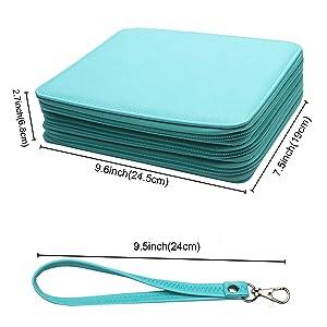 Soucolor 120 Slots Pencil Case PU Leather Handy Pencil Wrap with Zipper Super Large Capacity Pen Bag for Prismacolor Premier Colored Pencils, Crayola