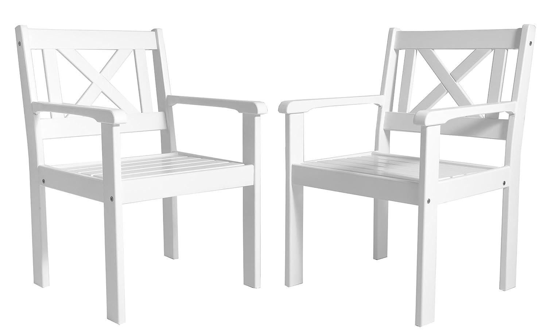 Ambientehome Garten Sessel Stuhl Massivholz Gartenmöbel EVJE, Weiß, 2-teiliges Set jetzt kaufen