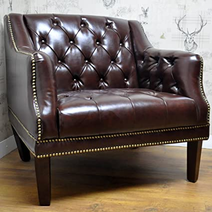 Traditional Chesterfield Back Brown Leather Club Arm Chair with Studwork
