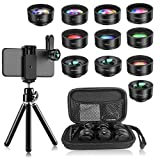 Phone Camera Len,Wiilkac 12 in 1 Phone Lens Kit with Selfie Stick Tripod,Wide Angle,Zoom Lens, Macro Len,Fisheye Lens,CPL, Starburst,Kaleidoscope Lens,Color Filters Compatible iPhone X/8/7 Samsung (Color: black, Tamaño: 12 in 1 phone lens)