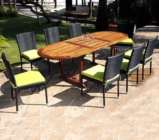 Mobili da giardino, Java di teak, con sedie in polyrattan, nero + Cuscino