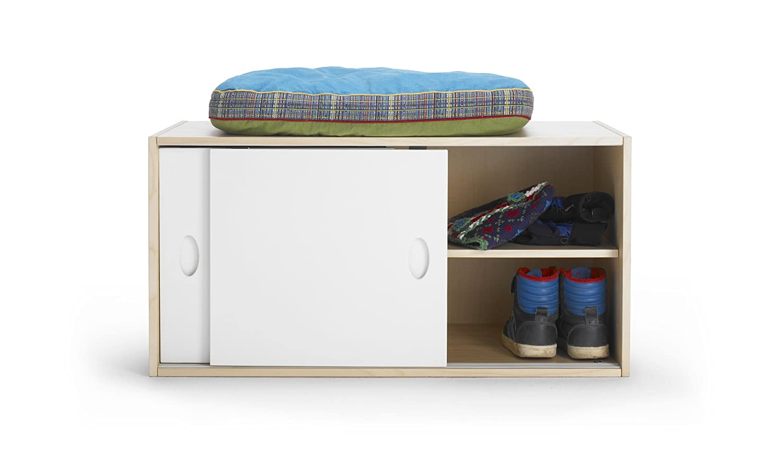 Regalschrank mit Schiebetüren aus Birke Multiplex mit Echtholzfurnier für Garderobe, Kinderzimmer, Kindermöbel bestellen