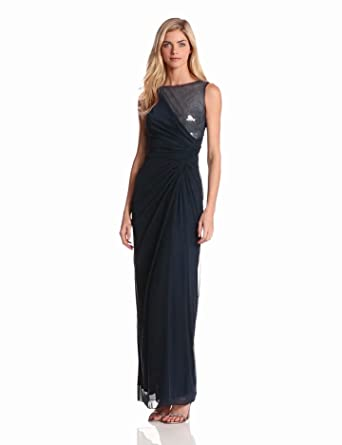 Adrianna Papell Women's Veiled Sequin Tulle Gown, Navy, 12
