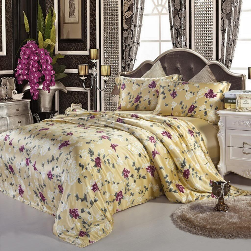 Orifashion Luxury Gold 5-Piece 100% Silk Bedding Set, Printed With Burgundy Flowers And Butterflies, California King Size