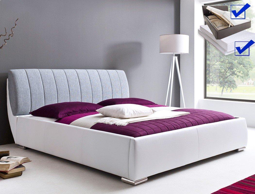 Polsterbett Luna Kunstleder Stoff weiß-hellgrau, Bett 180x200cm + hochklappbarer Lattenrost + Matratze + Bettkasten, Doppelbett Designerbett günstig online kaufen
