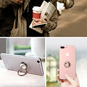DIGITWHALE Mirror Cellphone Ring Stand Holder, Stylish 360°Rotation 180°Flip Ring Stand Grip Mount for iPhone X 8 7/7 Plus,Samsung Galaxy S8/S7,Ipad -Rose Gold (Color: Rose Gold)