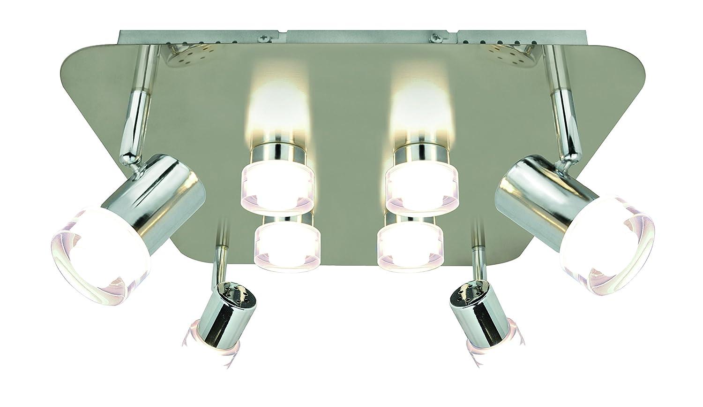 WOFI Deckenleuchte-8-flammig, Serie Antibes, 8 x LED, 4 W, Breite 34 cm, Höhe 15 cm, Tiefe 34 cm, Kelvin 3000, Lumen 400, nickel matt, chrom 9792.08.54.0500