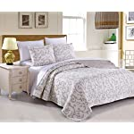 DaDa Bedding Elegant Classical Floral Luxe Couture Jacquard Reversible Quilted Coverlet Bedspread Set - Bright Vibrant Cozy Solid White Print - Queen - 3-Pieces