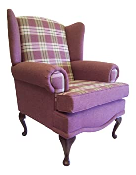 Cottage/Wing Back/ Queen Anne Chair in Arran plain Heather/Kintyre Tartan Heather Tartan on QA Legs