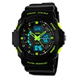 Kid LED Watch Child Boy Girl Sport Multi Function Digital Waterproof Electronic Quartz Watches Green (Color: Green)