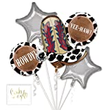 Andaz Press Balloon Bouquet Party Kit with Gold Cards & Gifts Sign, Yeehaw Foil Mylar Balloon Country Western Cowboy Cowgirl Decorations, 1-Set (Color: Birthday Yeehaw Theme)