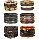 Adramata 24Pcs Woven Leather Bracelet for Men Women Wrap Cuff Bracelets Adjustable (Color: A:24PCS A SET)