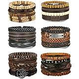Adramata 24Pcs Woven Leather Bracelet for Men Women Wrap Cuff Bracelets Adjustable (Color: A:24PCS A SET)