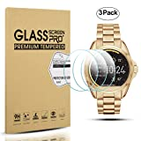 Diruite 3-Pack for Michael Kors Bradshaw Screen Protector, 2.5D 9H Hardness Tempered Glass Screen Protector for Michael Kors MKT5001 Smart Watch - Permanent Warranty Replacement (Color: clear)