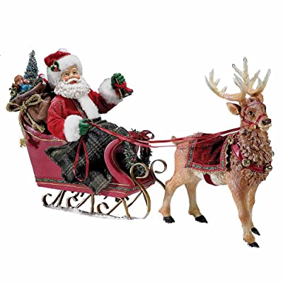 Kurt Adler 10-Inch Santa in Sleigh with Deer