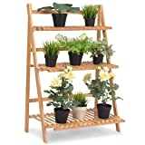 Giantex Plant Flower Stand Rack Shelf 3-Tier Bamboo Foldable Pot Racks Planter Organizer Display Shelves, 27.6