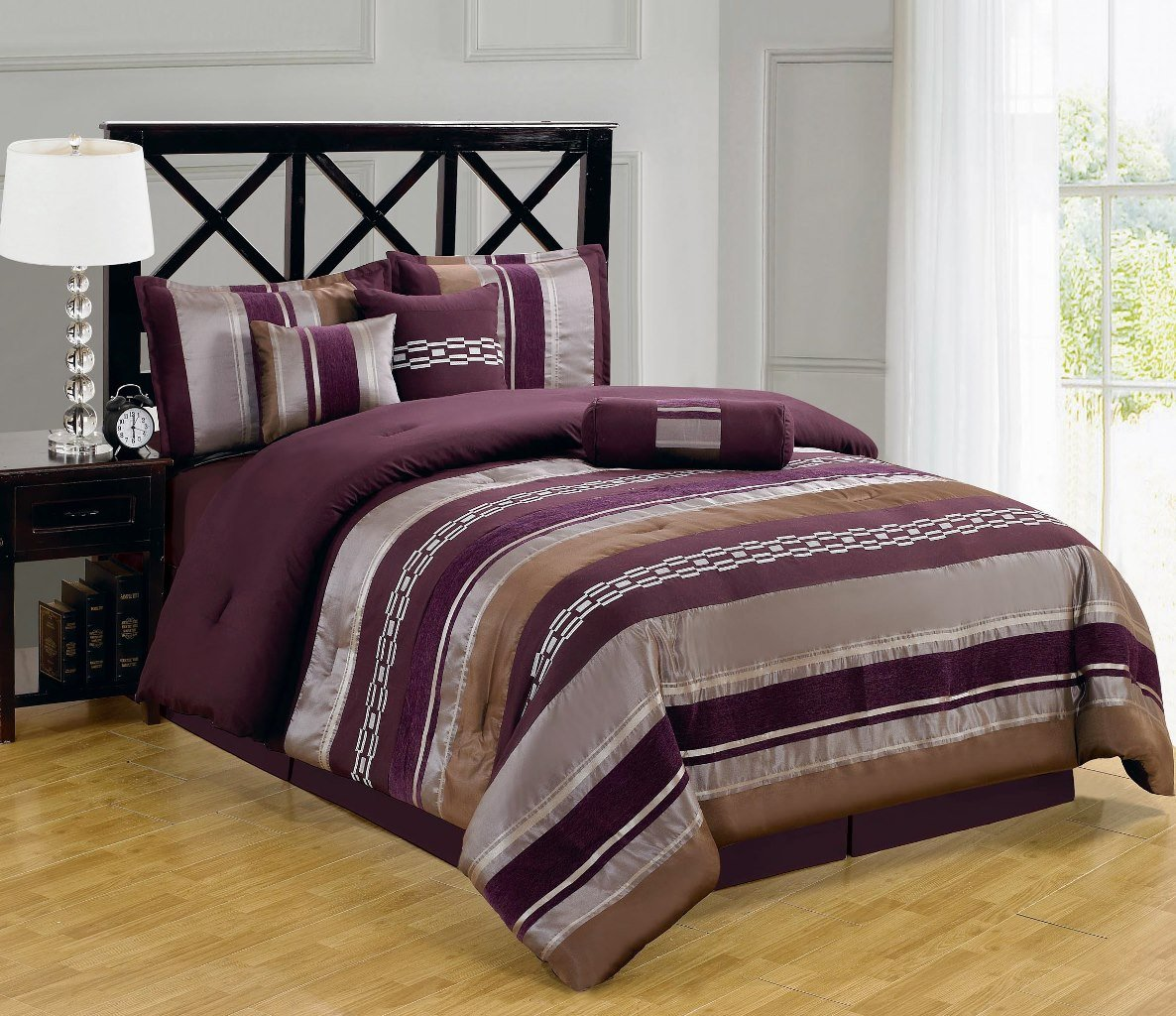 sheetsnthings Full size 11pc Claudia Purple set includes:7PC  Comforter set and 4PC Microfiber sheet set at Sears.com