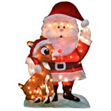 ProductWorks 32-Inch Pre-Lit Santa and Rudolph Christmas Yard Decoration, 70 Lights (Color: Mulit, Tamaño: 1)