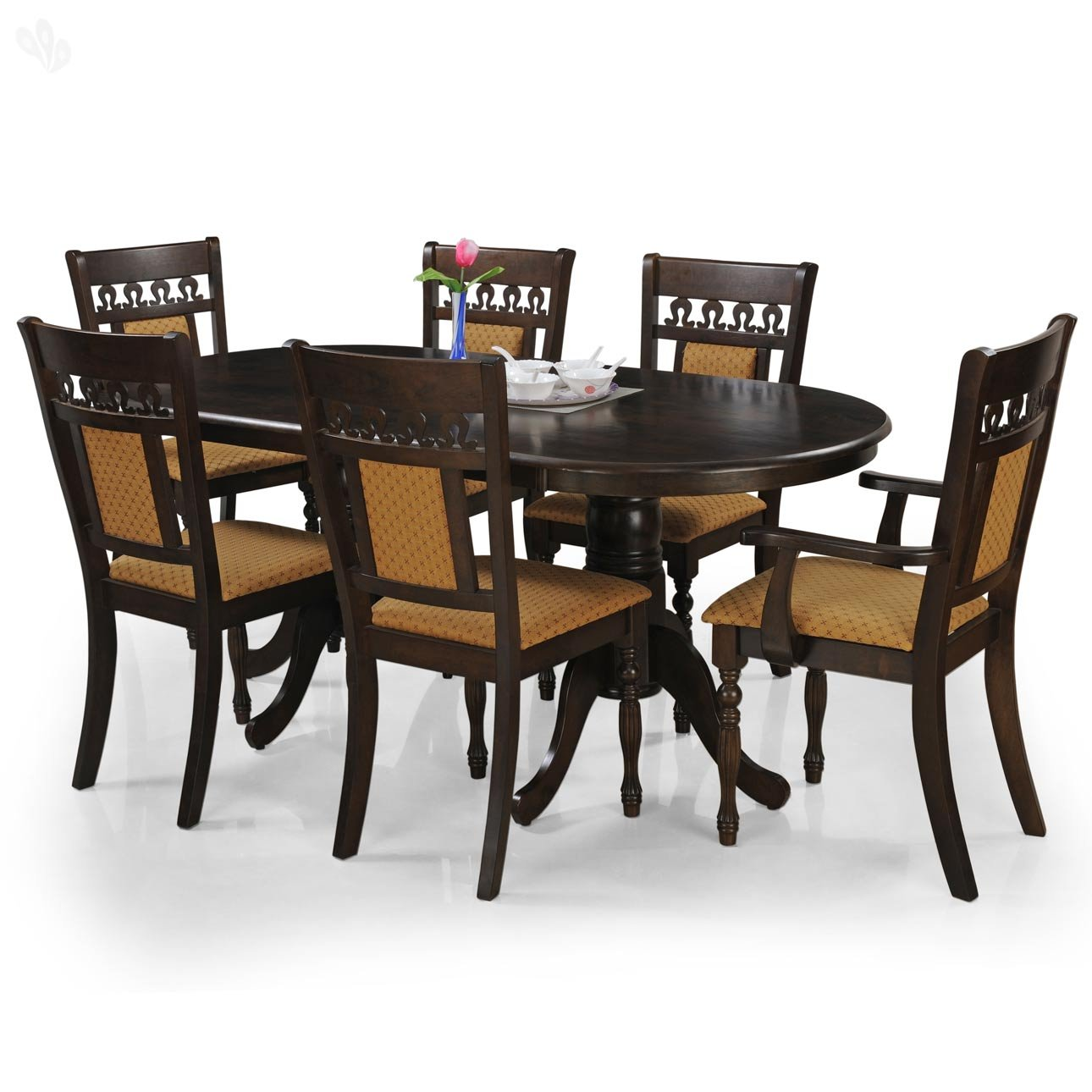 Royal oak angel six seater dining table set brown best for Kitchen set royal surabaya