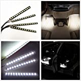 Car Interior Lights, EJ's SUPER CAR 4pcs 36 LED DC 12V Waterproof Atmosphere Neon Lights Strip for Car-Car Auto Floor Lights,Glow Neon Light Strips for All Vehicles (White)…