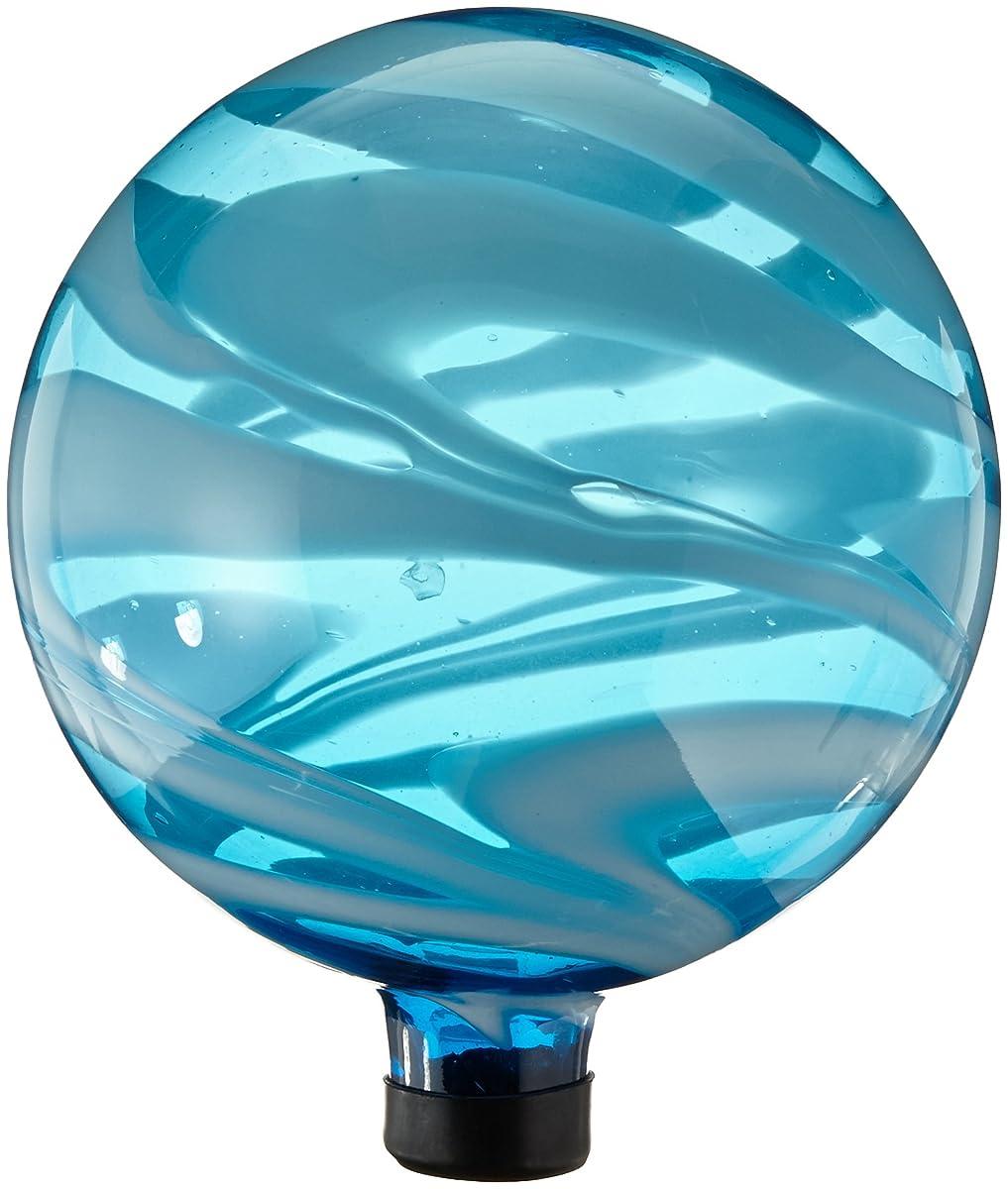 "Gardeners Select A14BFG05 Glass Gazing Globe, Blue and White Swirl, 10"""