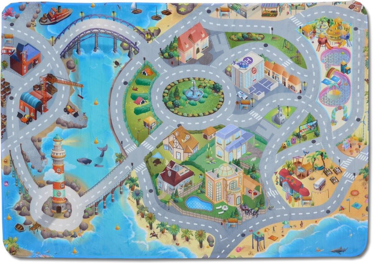Kinderteppich MonTapis Spielwelt Küstenstadt 130x180cm (Straßenteppich)