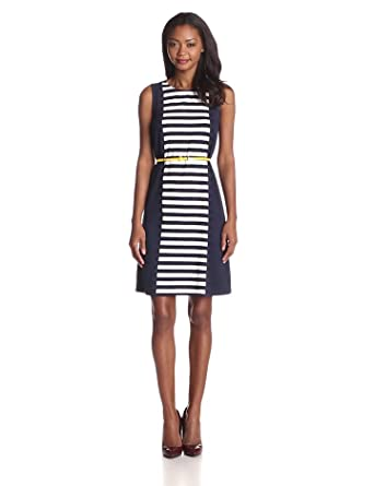 Anne Klein Women's Stripe Sleeveless Belted Dress, Midnight/Camellia, Large