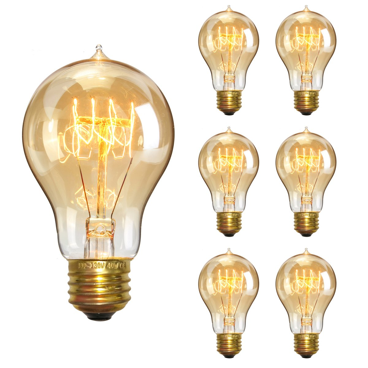 KINGSO Vintage Edison Bulbs 40W Filament Incandescent Antique Dimmable Light Bulb for Home Light Fixtures E27 Base A19 110V - 6 Pack
