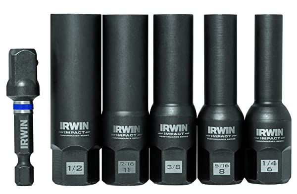 Bolt-Grip 1859147 Irwin Tools Impact Performance Series Bolt Grip Deep Well Bolt Extractor with 3/8-Inch Square Drive Set, 4-Piece (Tamaño: 6-Piece Set)