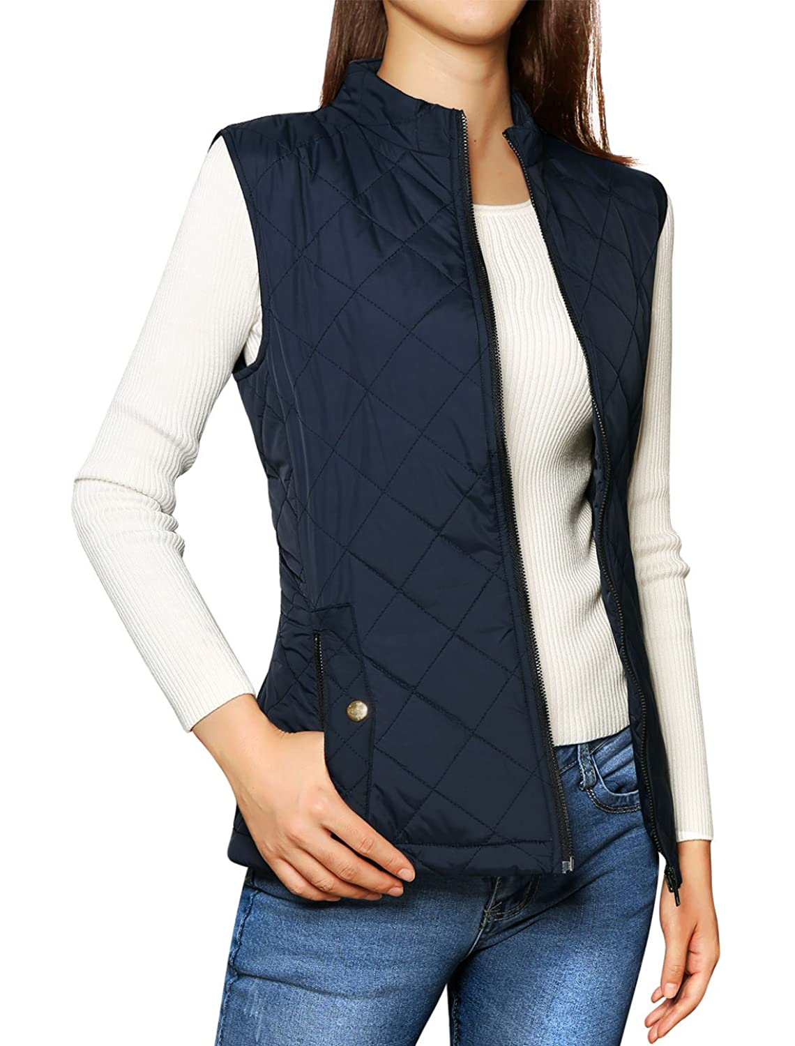 Allegra K Woman Zip Up Front Stand Collar Slant Pockets Quilted Padded Vest