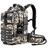 RUPUMPACK Military Tactical Backpack Hydration Backpack, Army MOLLE Bug Out Bag, Small 3-Day Rucksack for Outdoor Hiking Camping Trekking Hunting School Daypack, 33L (Camouflage) (Color: camouflage)