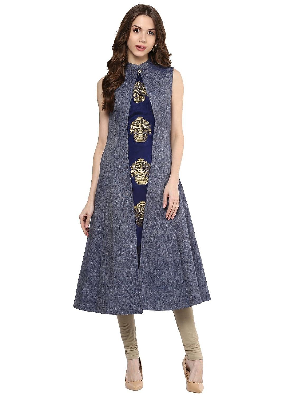 Shirt design kurti - Aahwan Women S A Line Blue Kurti