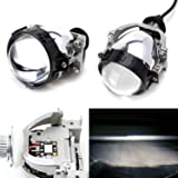 iJDMTOY (2) 30W High Power LED Bi-Xenon Projector Lens For Headlight Retrofit, Custom Headlamp Upgrade
