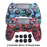 PS4 Controller Skins - Silicone Covers for DualShock 4 - Water Printed Protector Case Set for Sony PS4, PS4 Slim, PS4 Pro - 2 Pack Camo PS4 Accessories- 4 Pairs PS4 Thumb Grips - Red & Blue (Color: Printed Camo Red+Blue)