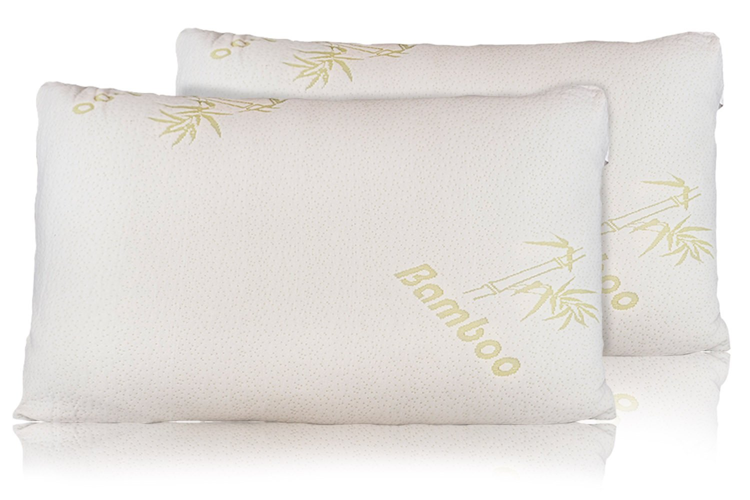 Bamboo Pillow - Firm Shredded Memory Foam Set of 2 - Stay Cool Removable Cover With Zipper - Hotel Quality Hypoallergenic - Relieves Snoring, Insomnia, Neck Pain, TMJ, and Migraines (Queen)