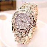 Luxury Women Watch Bling Bling Fashion Jewelry Crystal Diamond Rhinestone Ladies Watches Steel Band Round Dial Analog Clock Classic Quartz Female Charm Bracelet Dress Wristwatches (Rose Gold)